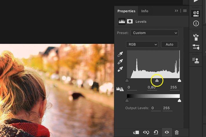 a screenshot showing how to adjust RGB dropdown menu in Photoshop