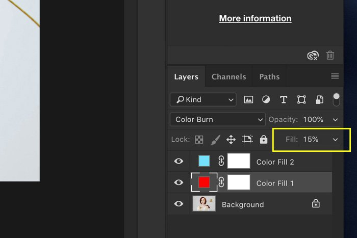 A screenshot showing how to adjust fill layers in Photoshop