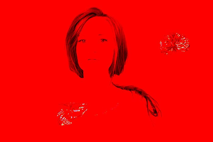 A portrait of a colour layered red