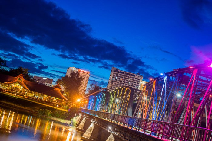 a stunning night cityscape shot with dutch angle photography