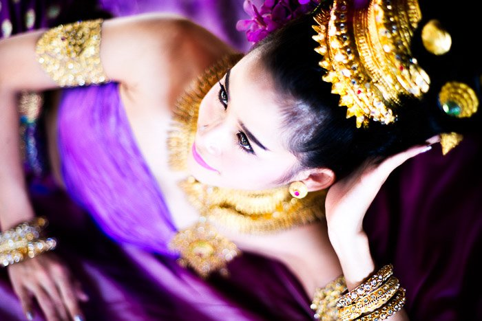 sensual portrait of a Thai model shot with dutch angle photography