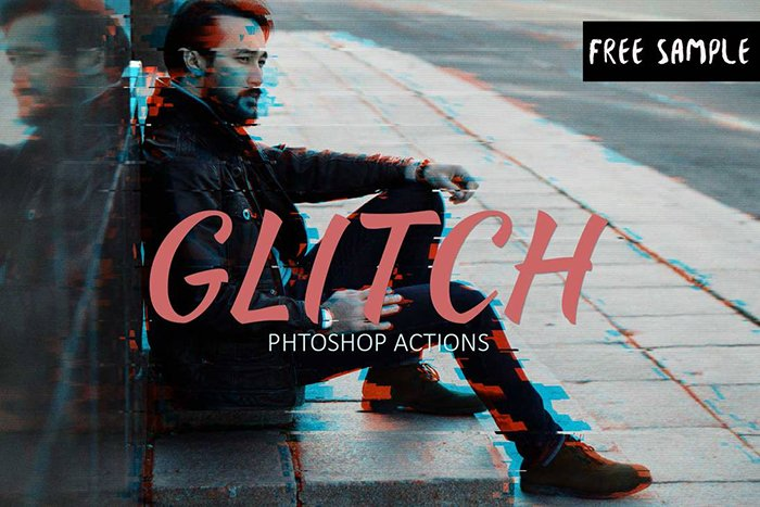 Free Glitch Photoshop Action - best free photoshop actions
