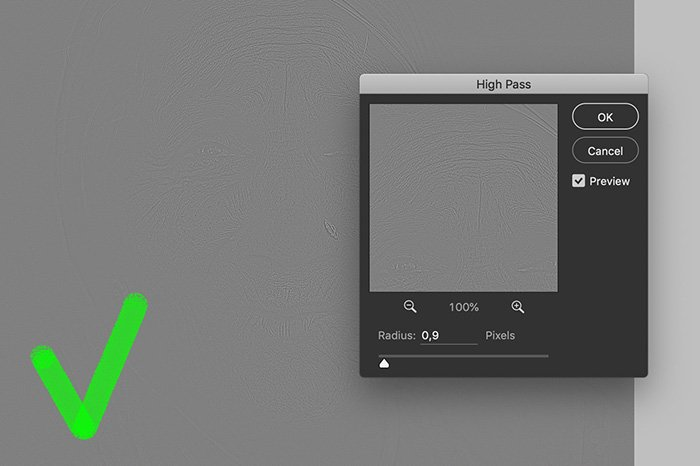 A screenshot showing how to adjust sharpening with the High Pass Filter in Photoshop