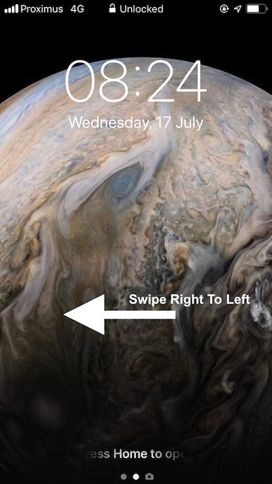 Screenshot show how to open Camera App with locked iPhone - iPhone 8 camera tips