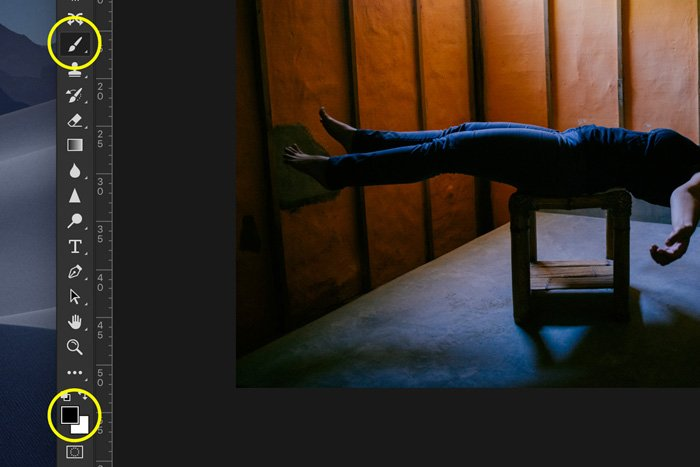 A screenshot showing how to edit Levitation Photography in Photoshop - remove the stool