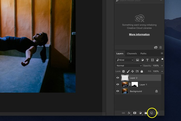 A screenshot showing how to edit Levitation Photography in Photoshop - add a shadow