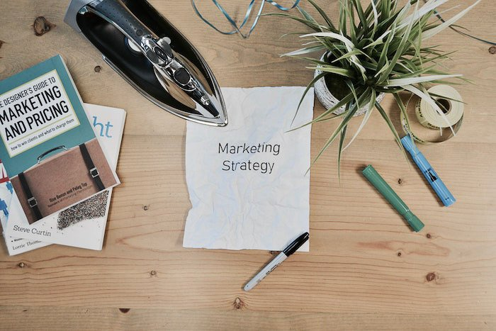 flatlay of a photography business marketing plan, stationary and plants