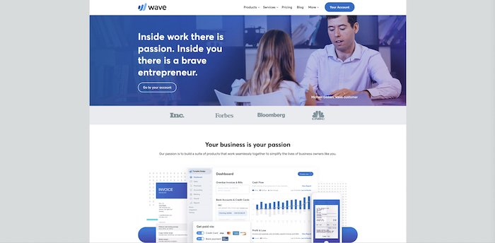 a screenshot of Wave website - photography business tools