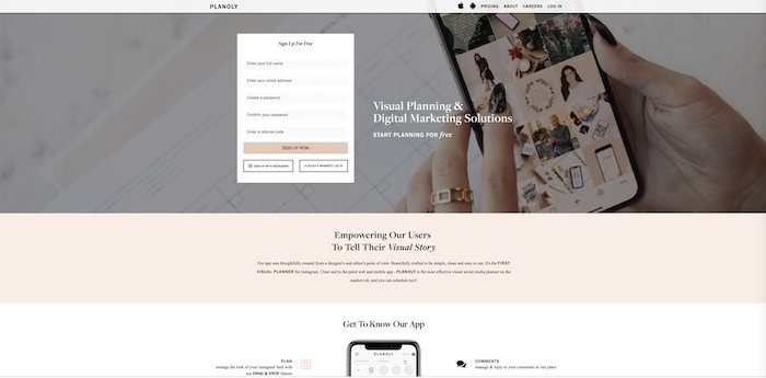a screenshot of Planoly website - photography business tools