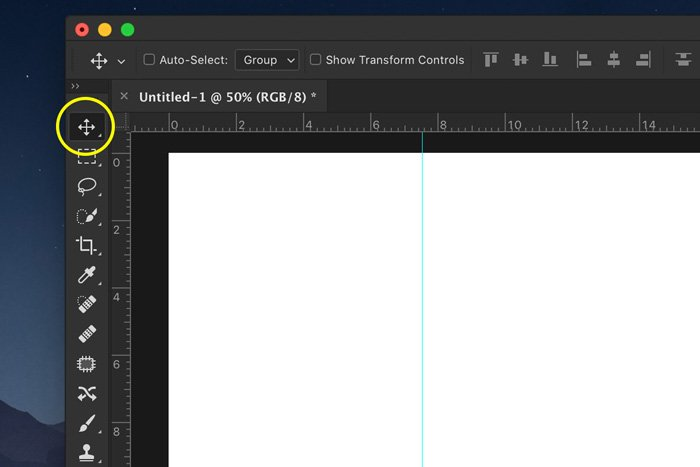 A screenshot showing how to add a Photoshop guide