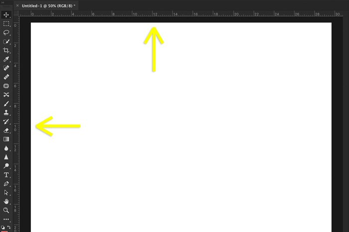 A screenshot showing how to use rulers in Photoshop