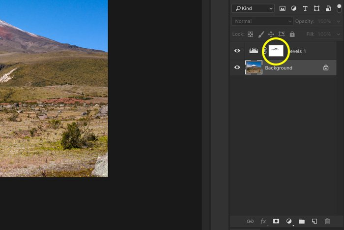 screenshot showing how to photoshop landscape photos - darkening