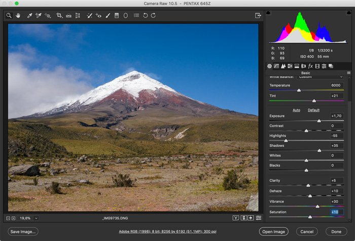 screenshot showing how to photoshop landscape photos - Saturation and colors
