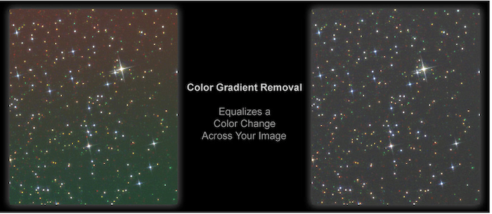 The result from running the Color Gradient Removal action in Astronomy Tool By Pro Digital Software
