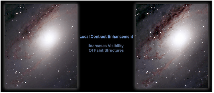 The result from running the Local Contrast Enhancement action - astrophotography software resources