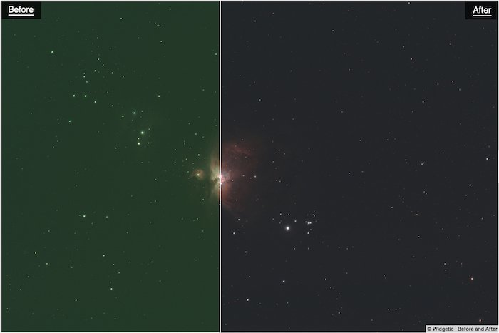 Before and after editing with Photokemi's Star Tool By Ken Mitchell