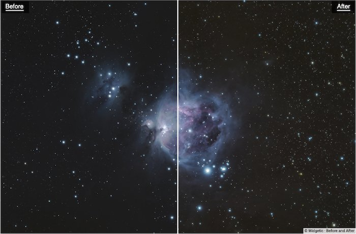 Before and after editing with Photokemi's Star Tool By Ken Mitchell - best astrophotography software