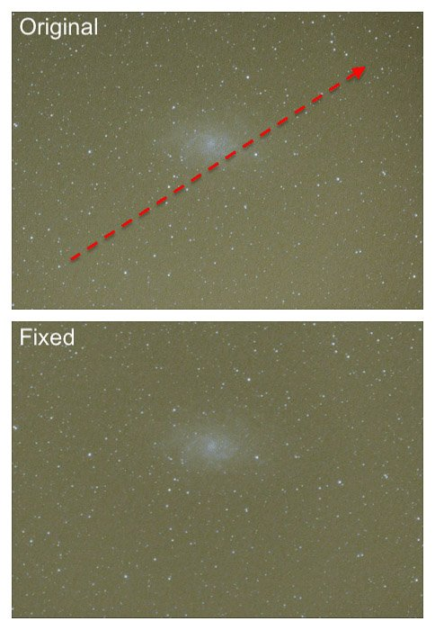 Astrophotography diptych before and after using GradientXterminator By Russel Croman