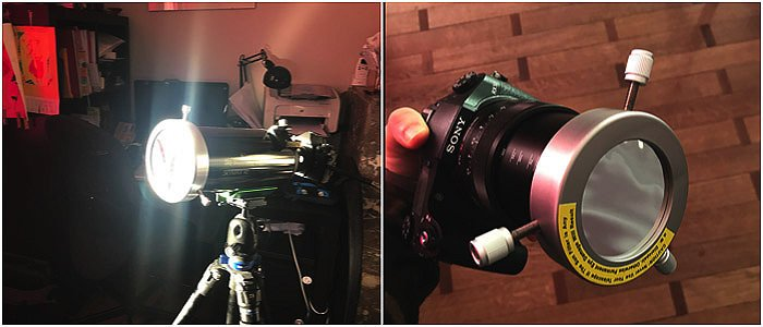 solar filters mounted to a DSLR using thumb screws pushing on the lens or telescope body