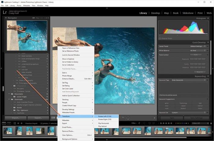 显示如何在Lightroom中旋转图像的屏幕截图