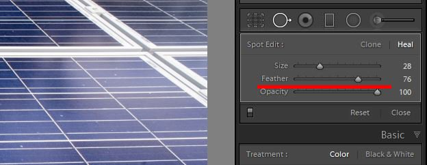 a screenshot showing how to use clone tool in lightroom to edit photos - brush size