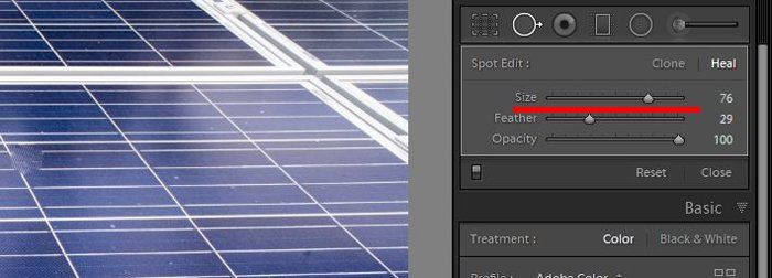 a screenshot showing how to use clone tool in lightroom to edit photos - adjust brush size