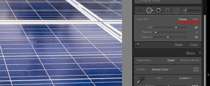 a screenshot showing how to use clone tool in lightroom to edit photos