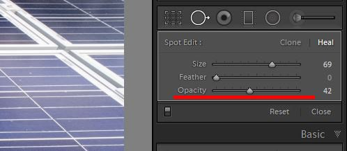 a screenshot showing how to use clone tool in lightroom to edit photos - opacity