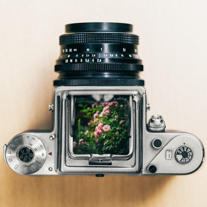 overhead shot of a film camera - fin camera manuals online