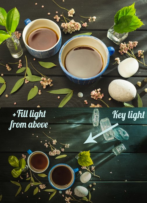 a creative still life diptych featuring cool reflections in a coffee cup
