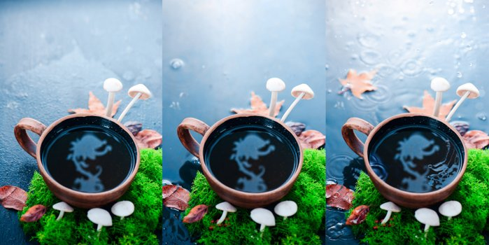 a creative still life triptych featuring a cool reflection in a coffee cup