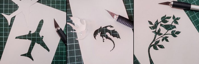 a triptych of cutting silhouettes from paper to make creative reflections in drink photography