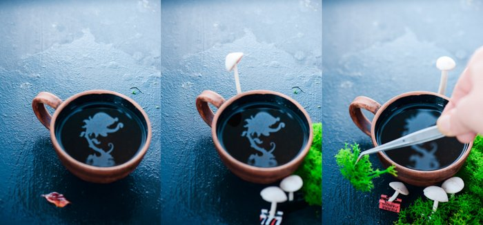 a still life triptych featuring creative reflections in a coffee cup