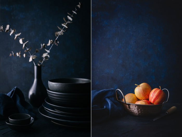 a diptych of dark and moody food photography