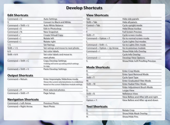 a screenshot showing how to check develop shortcuts on Lightroom