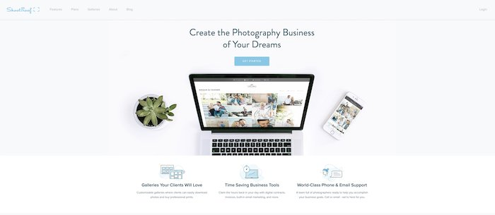screenshot of the Shootproof website for sharing photos with clients