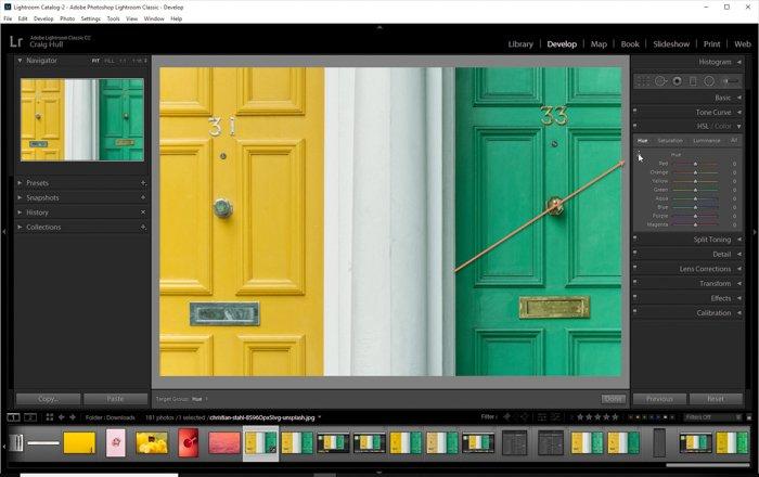 一个屏幕截图显示了如何在Lightroom目标调整工具中使用HSL滑块
