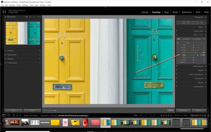 显示如何在Lightroom中使用HSL滑块的屏幕截图-颜色色调