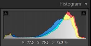 a screenshot of a color histogram