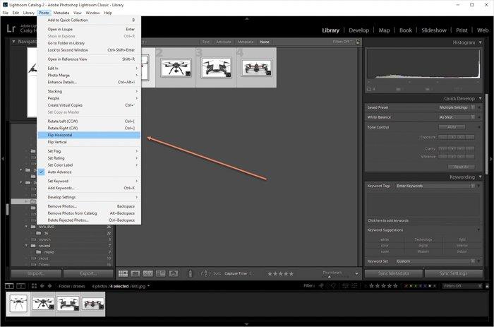 显示如何在Lightroom中翻转多个图像的屏幕截图