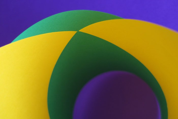 Abstract view of geometric shapes in bright colors