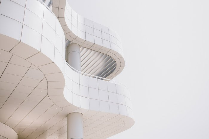 Detail of a modernist architectural building made from geometric shapes