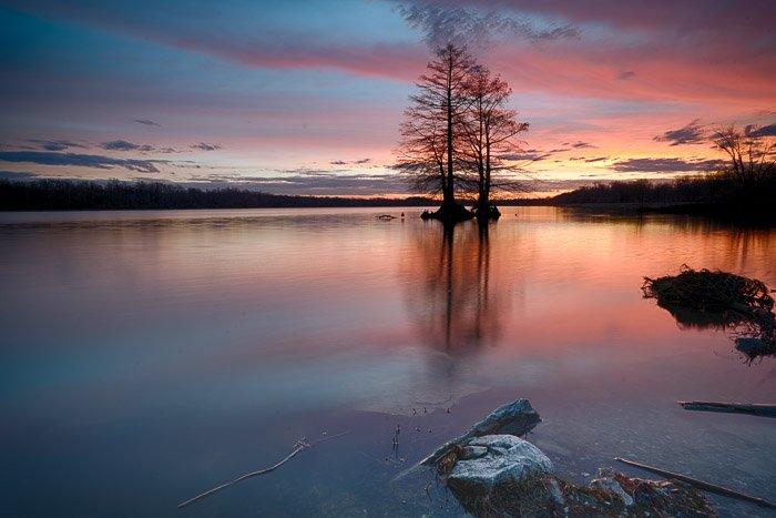 A serene lake view at night enhanced using free hdr software