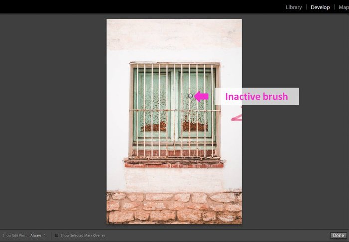 A screenshot showing how to use the Lightroom Adjustment Brush Tool - inactive brush