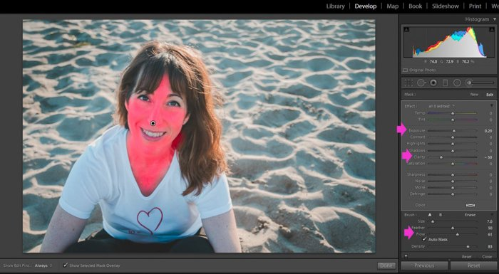 a screenshot of editing a portrait of a female model with the lightroom adjustment tool