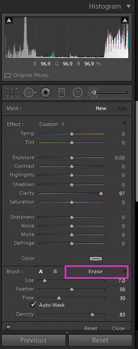 A screenshot showing how to use the Lightroom Adjustment Brush Tool - eraser option