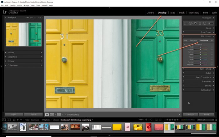 显示如何在Lightroom-亮度调整面板中使用HSL滑块的屏幕截图