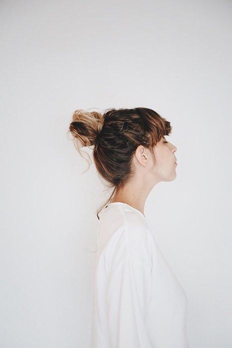 a minimalist portrait of a female model