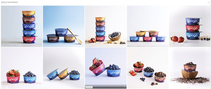 10 photo grid showing different compositions for yoghurt product composition