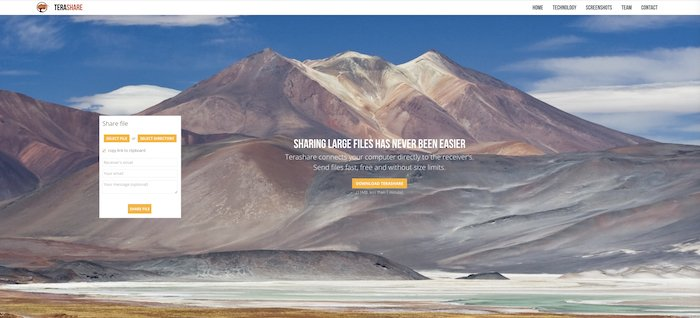 screenshot of the Terashare website interface